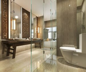 3d rendering modern bathroom with luxury tile and chinese wall decor